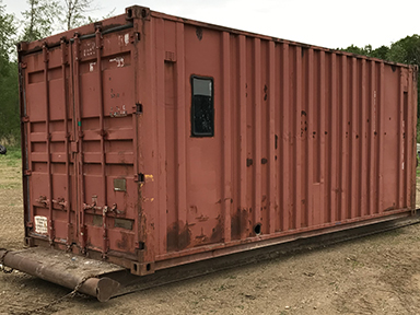 20 ft sea container on skids